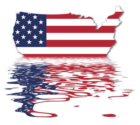 liquid state: USA Map - US Flag - National Symbol Of The United States Of America With Reflection