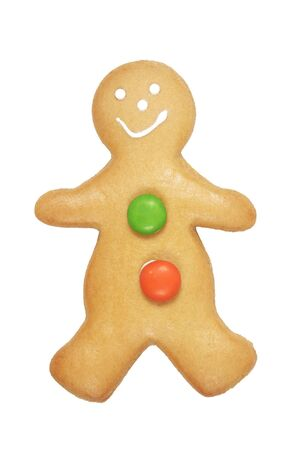 Gingerbread Man Cookie On A White Background photo