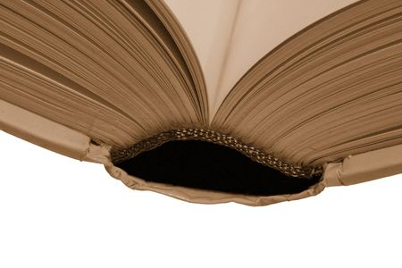 illiteracy: Thick Open Book, Blank Pages On A White Background, Warm Tone