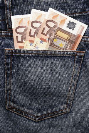 billets euros: Argent de poche en blue-jeans - Cinquante trois billets en euros