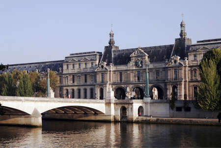 calmness: Seine River Bank, Paris On A Clear Sunny Day In France