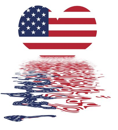 Love The USA  Heart And US Flag - National Symbol Of The United States Of America With Reflection photo