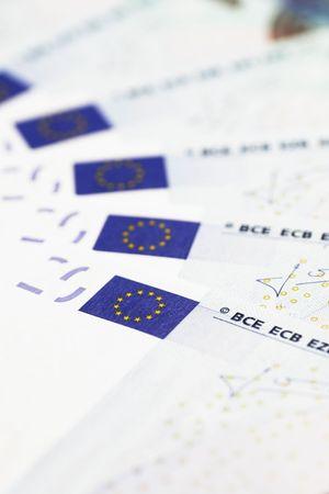Money Detail Of 20 Euro Notes - Focus On First EU Flag photo