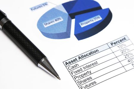 Asset Allocation, Business Investment, Table And Chart, Focus Pen Top Stock Photo