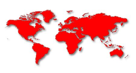 worldmap: World Map - Red Continents With Shadows On White Background
