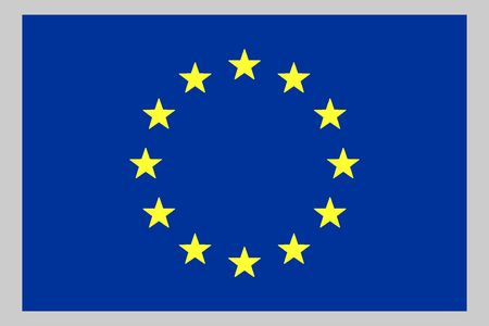 European Union Flag, Circle Of Yellow Stars On Blue Background photo