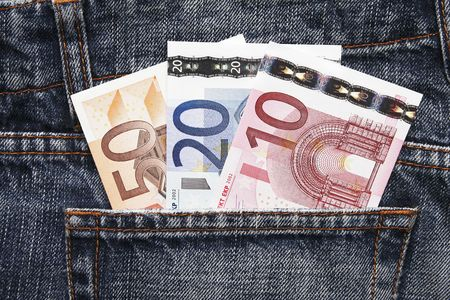pocket money: Pocket Money In Blue Jeans - Three Notes, Ten, Twenty and Fifty Euro