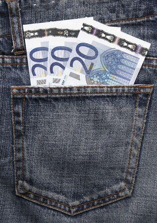 Pocket Money In Blue Jeans - Three Twenty Euro Notes photo