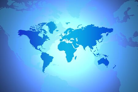 virtual world: World Map - Global Concept In Blue With Spotlight In Centre Stock Photo