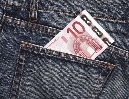 Pocket Money In Blue Jeans - Ten Euro Note photo