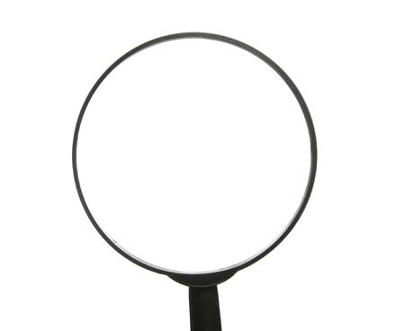 investigators: Top Of A Simple Black Magnifying Glass Over White Background Stock Photo