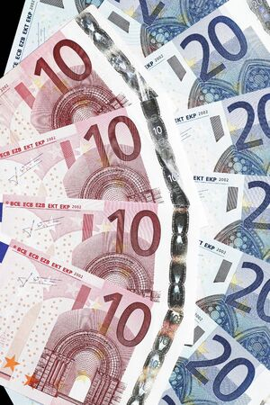 Money - Twenty And Ten Euro Notes Laid Out As Fan photo