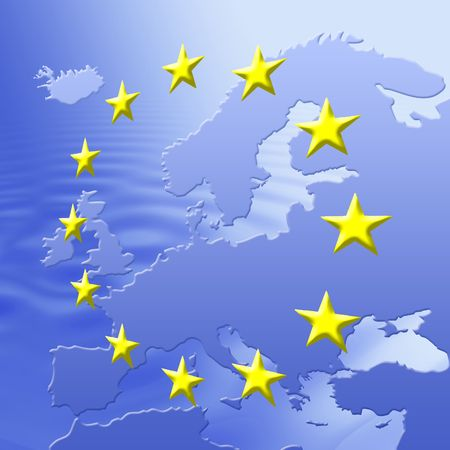 ec: Continent Of Europe Map With EU Stars, Symbolic Illustration of European Union Stock Photo