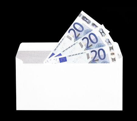 Money Gift, White Envelope With Twenty Euro Notes photo