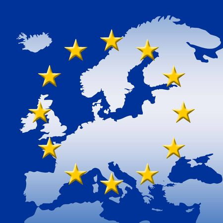 eu: Continent Of Europe Map With EU Stars (3D edges), Symbolic Illustration of European Union