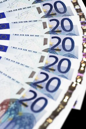 20 euro: Money - Details Of 20 Euro Notes - Focus On Top Stock Photo