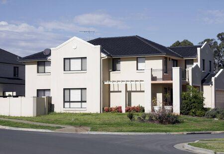 New Modern Suburban Town House In A Sydney Suburb On A Sunny Summer Day, Australia