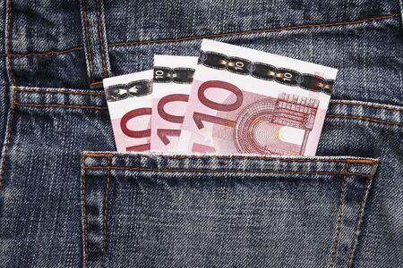 Pocket Money In Blue Jeans - Three Ten Euro Notes photo