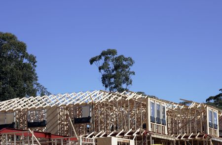 roof framework: Wooden Construction Frames Of  Suburban House In A Sydney Suburb, Australia