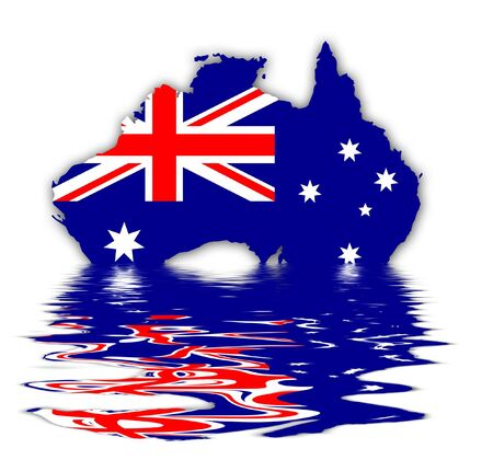 Flag and Map of Australia - Union Jack And Southern Cross On Blue Stock Photo