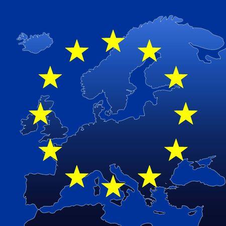 Continent Of Europe Map With EU Stars, Symbolic Illustration of European Union Stock Illustration - 3142850