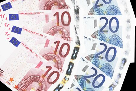 Money - Details Of 10 And 20 Euro Notes Laid Out As Fan photo