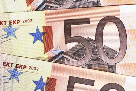 50 euro: Money - Details Of 50 Euro Notes Laid Out As Fan