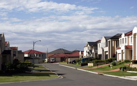 suburban: Suburban Street With New Modern Houses In A Sydney Suburb On A Sunny Summer Day, Australia