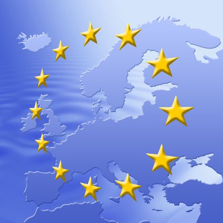 Continent Of Europe Map With EU Stars, Symbolic Illustration of European Union Stock Illustration - 3180519