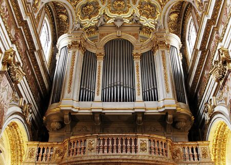 pipe organ: Golden Church Pipe Organ In Italy, Europe