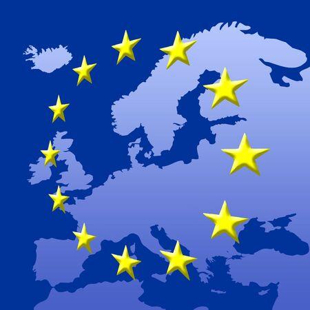 Continent Of Europe Map With EU Stars, Symbolic Illustration of European Union Stock Illustration - 3186366