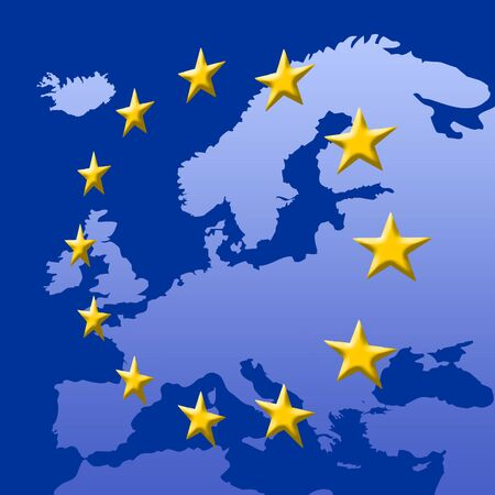 Continent Of Europe Map With EU Stars (3D edges), Symbolic Illustration of European Union