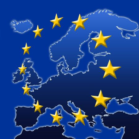 european community: Continent Of Europe Map With EU Stars (3D edges), Symbolic Illustration of European Union