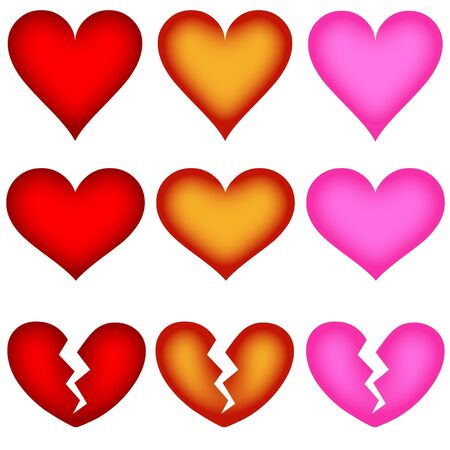 Set Of Different Heart Shape Icons - Buttons, White Background photo