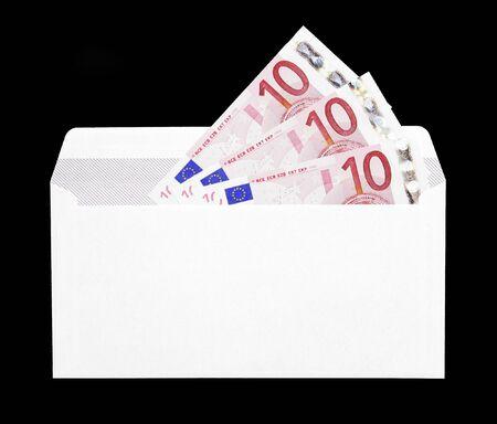 Money Gift, White Envelope With Ten Euro Notes photo