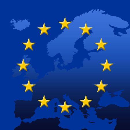 Continent Of Europe Map With EU Stars (3D edges), Symbolic Illustration of European Union Stock Illustration - 3214647