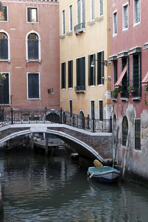 Venice, Italy - Small Bridge, Typical Old Building Water Front Facade And Canal Stock Photo - 3214649