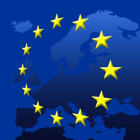 eu flag: Continent Of Europe Map With EU Stars, Symbolic Illustration of European Union Stock Photo