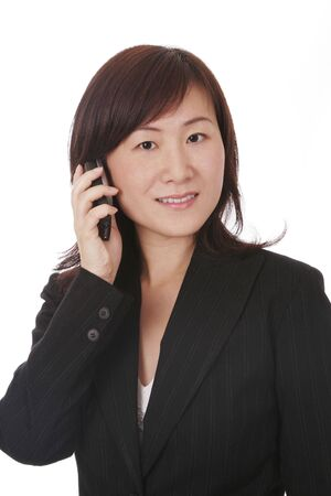 Beautiful Young Asian (Chinese) Businesswoman With Modern Mobile Phone Stock Photo - 3233252