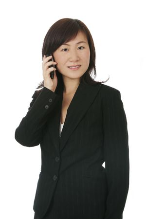 Beautiful Young Asian (Chinese) Businesswoman With Modern Mobile Phone Stock Photo - 3246527