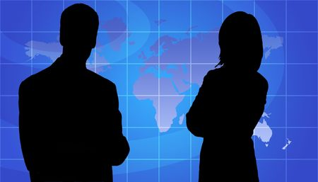 Business Woman And Man Silhouette In Front Of World Map Background photo