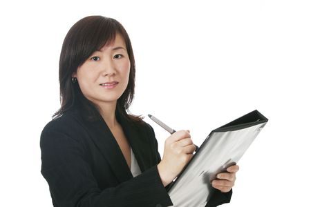 Beautiful Young Asian (Chinese) Businesswoman With Black Folder photo