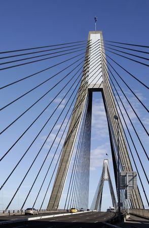 Anzac Bridge, Sydney, Australia: ANZAC Bridge is the longest cable-stayed bridge in Australia, and amongst the longest in the world. Stock Photo - 3310576