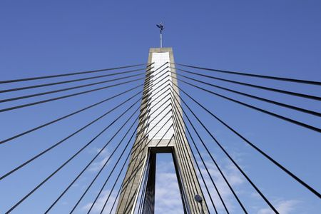 Anzac Bridge, Sydney, Australia: ANZAC Bridge is the longest cable-stayed bridge in Australia, and amongst the longest in the world. Stock Photo - 3499018
