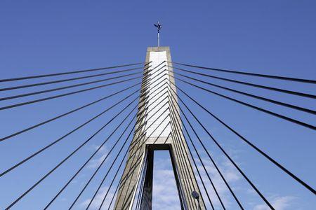 Anzac Bridge, Sydney, Australia: ANZAC Bridge is the longest cable-stayed bridge in Australia, and amongst the longest in the world. Stock Photo - 3499018