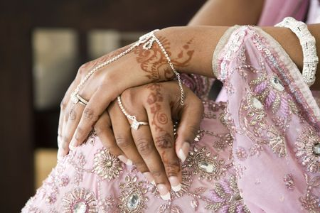 Bride's Hand With Henna Tattoo And Jewellery, Indian Wedding