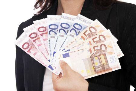 Woman Holding Euro Money, Notes, White Background photo