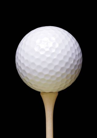tee: Golf Ball On Wooden Tee, Black Background