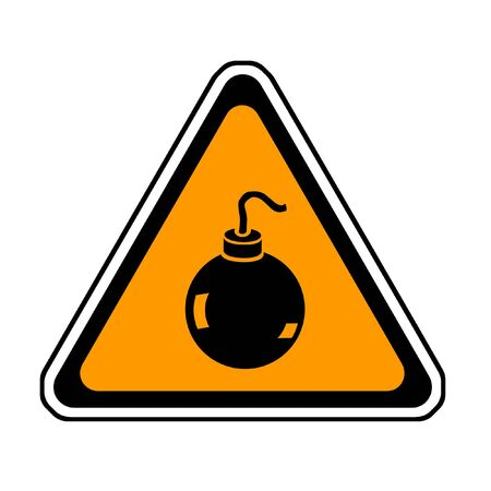 Bomb Warning Sign, Orange Triangle Symbol, White Background Stock Photo - 3575509