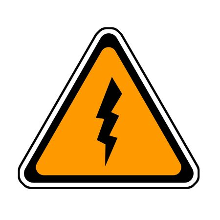Flash Warning Sign - Lightning Symbol, White Background Stock Photo - 3588033